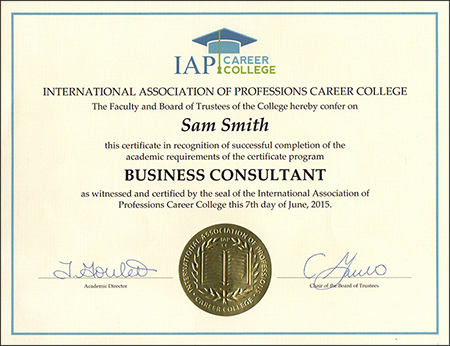 Register today to earn a Certificate from the International Association of Professions Career College (