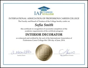Interior decorator certificate course online for Interior decorator certificate online
