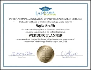 program wedding planner course