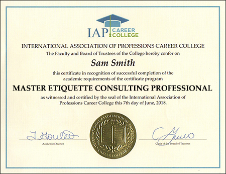 Etiquette Consulting Master Professional Certification Online