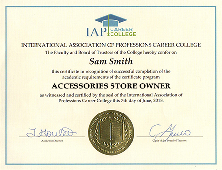 Accessories Store Owner Certificate Course Online