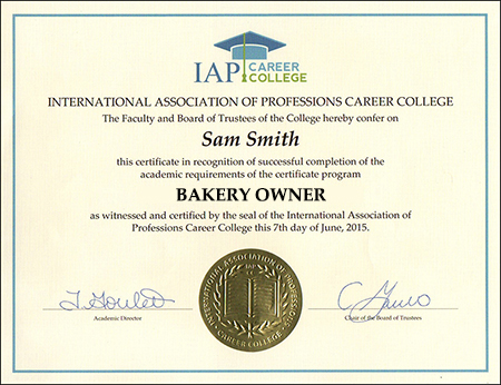 bakery owner certificate course online