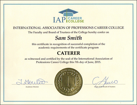 Caterer Certificate Course, Catering Certificate Course
