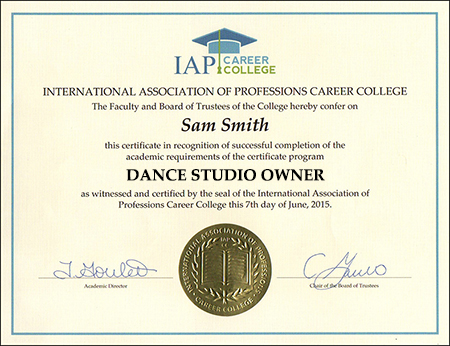 dance studio owner certificate course online registration