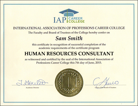 human resources consultant certificate course online