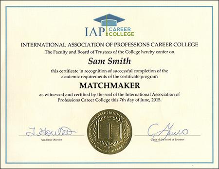 sample-certificate-matchmaker-certification-course-online