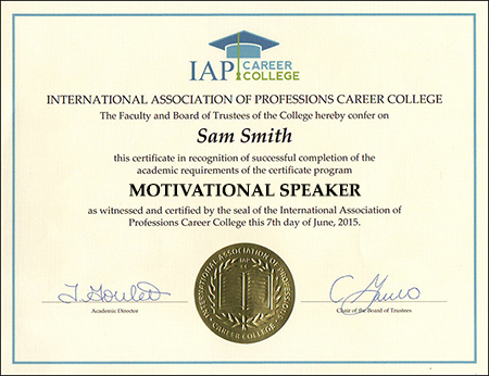 motivational speaker certificate course online. Black Bedroom Furniture Sets. Home Design Ideas