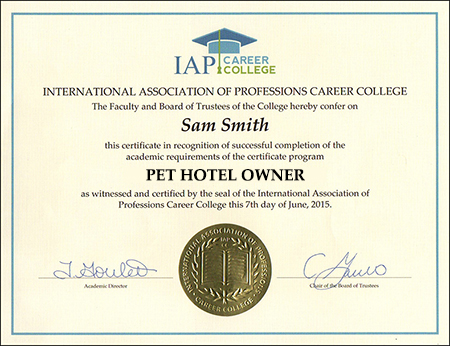 Pet hotel owner certificate course online registration yelopaper Choice Image