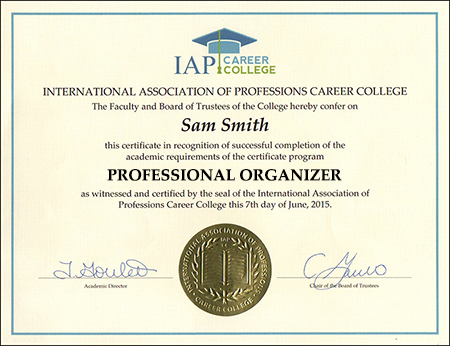 sample-certificate-professional-organizer-course