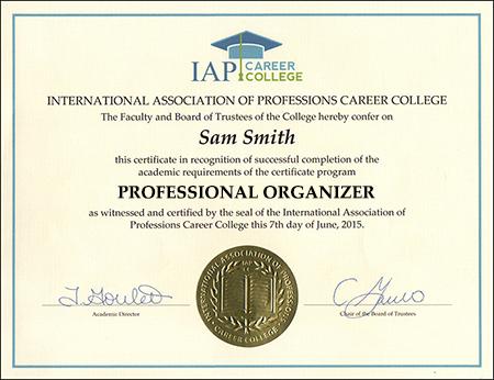 sample-certificate-professional-organizer-course