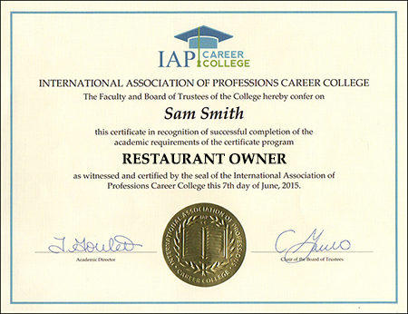 Restaurant owner certificate course online registration yadclub Image collections