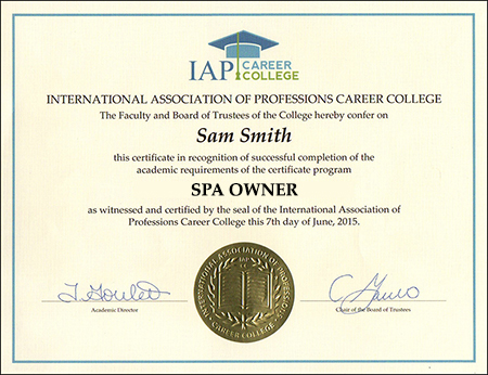 Spa Owner Certificate Course