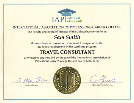 travel consultant certificate course online